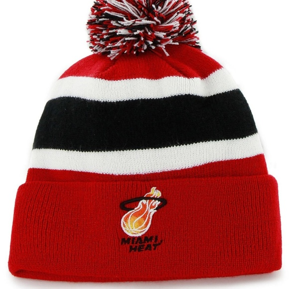Miami Heat Knit Beanie Pom NBA Basketball Red NEW e0dc6b9b0930